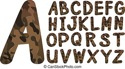 Alphabet font design with military theme