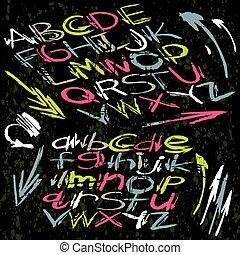 Alphabet font in graffiti style on a dark background