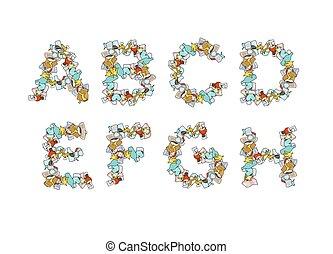 alphabet., font., lixo, abc., 1, parte, litter., lixo, letra, lixo