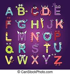alphabet font monster character fun kids funny color-full letters abc design vector illustration