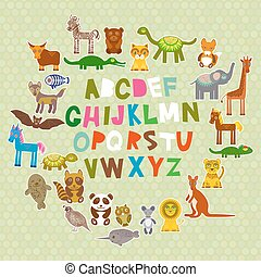 alphabet for kids from A to Z. Set of funny cartoon animals character. zoo on green polka dots background. Vector