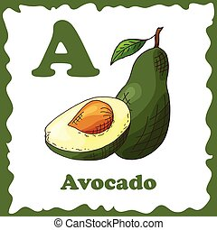 Alphabet for kids with fruits. Healthy letter abc A-Avocado