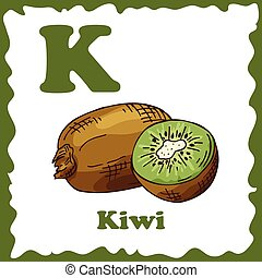 Alphabet for kids with fruits. Healthy letter abc K-Kiwi