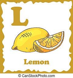 Alphabet for kids with fruits. Healthy letter abc L-Lemon