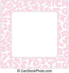 Alphabet Frame, Baby Pink Pastel