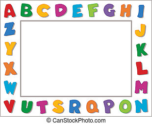 Alphabet Frame - Multicolor alphabet on vertical white frame...