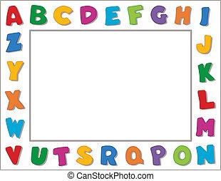 Alphabet Frame - Multicolor alphabet on vertical white frame...