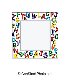 Alphabet Frame on the white backgro