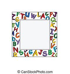 Alphabet Frame on the white backgro
