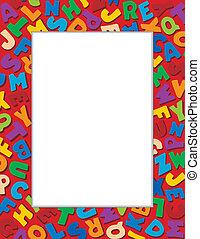 Alphabet Frame, Red Background
