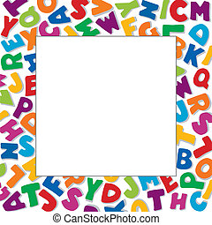 Alphabet Frame, square multicolor letter border, white background. Copy space for education, back to school announcements, posters, fliers, stationery, scrapbooks, albums, DIY. EPS8 compatible.