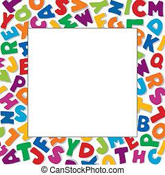 Alphabet Frame, square multicolor letter border, white ...