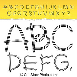 alphabet from A to Z and used pattern brushes included. Set black letters on white background. Vector