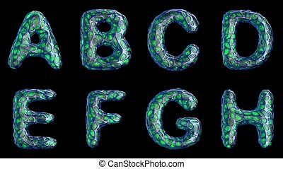 Alphabet from blue plastic with abstract holes isolated on a black background. A B C D E F G H . 4K