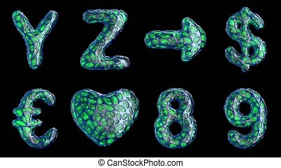 Alphabet from blue plastic with abstract holes isolated on a black background. Y Z ,arrow, dollar, euro, heart, 8, 9 . 4K
