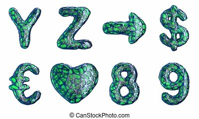 Alphabet from blue plastic with abstract holes isolated on a white background. Y Z ,arrow, dollar, euro, heart, 8, 9 . 4K