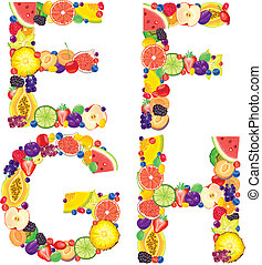 Alphabet from fruit EFGH - Alphabet from fruit.Letters...