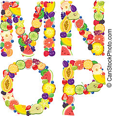 Alphabet from fruit MNOP - Alphabet from fruit. Letters M,N,...