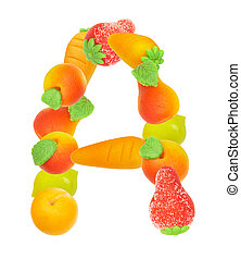 alphabet from fruit, the letter A