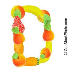 alphabet from fruit, the letter D