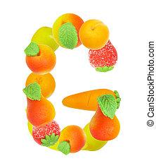alphabet from fruit, the letter G