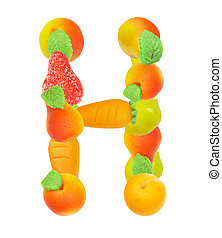 alphabet from fruit, the letter H