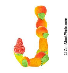 alphabet from fruit, the letter J