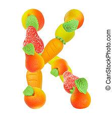alphabet from fruit, the letter K