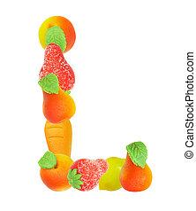 alphabet from fruit, the letter L