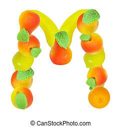 alphabet from fruit, the letter M