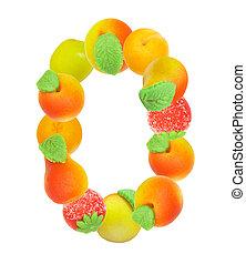 alphabet from fruit, the letter O