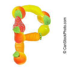 alphabet from fruit, the letter P