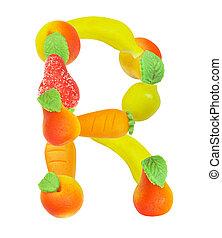 alphabet from fruit, the letter R