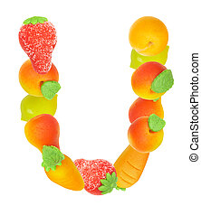 alphabet from fruit, the letter U