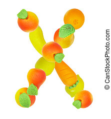 alphabet from fruit, the letter X