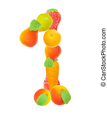 alphabet from fruit, the number 1