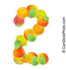 alphabet from fruit, the number 2