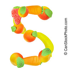 alphabet from fruit, the number 5