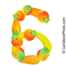 alphabet from fruit, the number 6