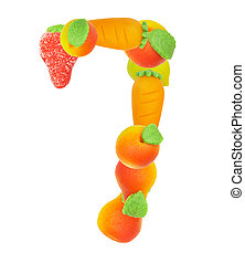 alphabet from fruit, the number 7