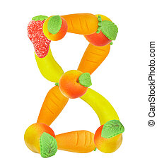 alphabet from fruit, the number 8