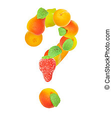 alphabet from fruit, the sign - ?