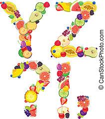 Alphabet from fruit XZ - Alphabet from fruit.Letters X,Z....