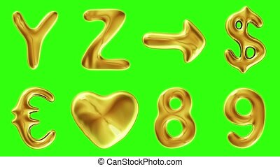 Alphabet from gold isolated on green background. The letter...