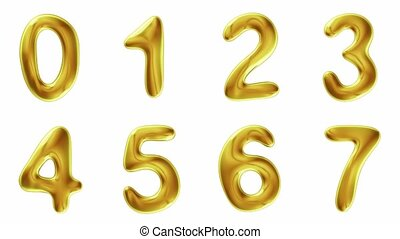 Alphabet from gold isolated on white background. The number...