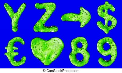 Alphabet from green water isolated on blue background.