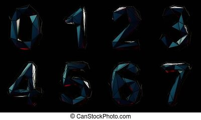 Alphabet from plastic isolated on black background. 4K