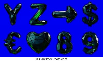 Alphabet from plastic isolated on blue background. 4K -...