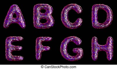 Alphabet from plastic with abstract holes isolated on a black background. A B C D E F G H . 4K