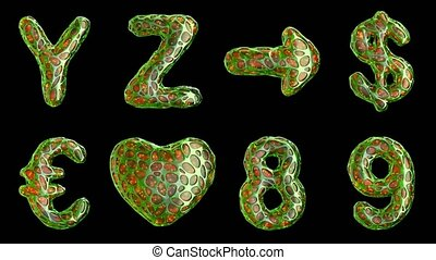 Alphabet from plastic with abstract holes isolated on a black background. Y Z ,arrow, dollar, euro, heart, 8, 9 . 4K